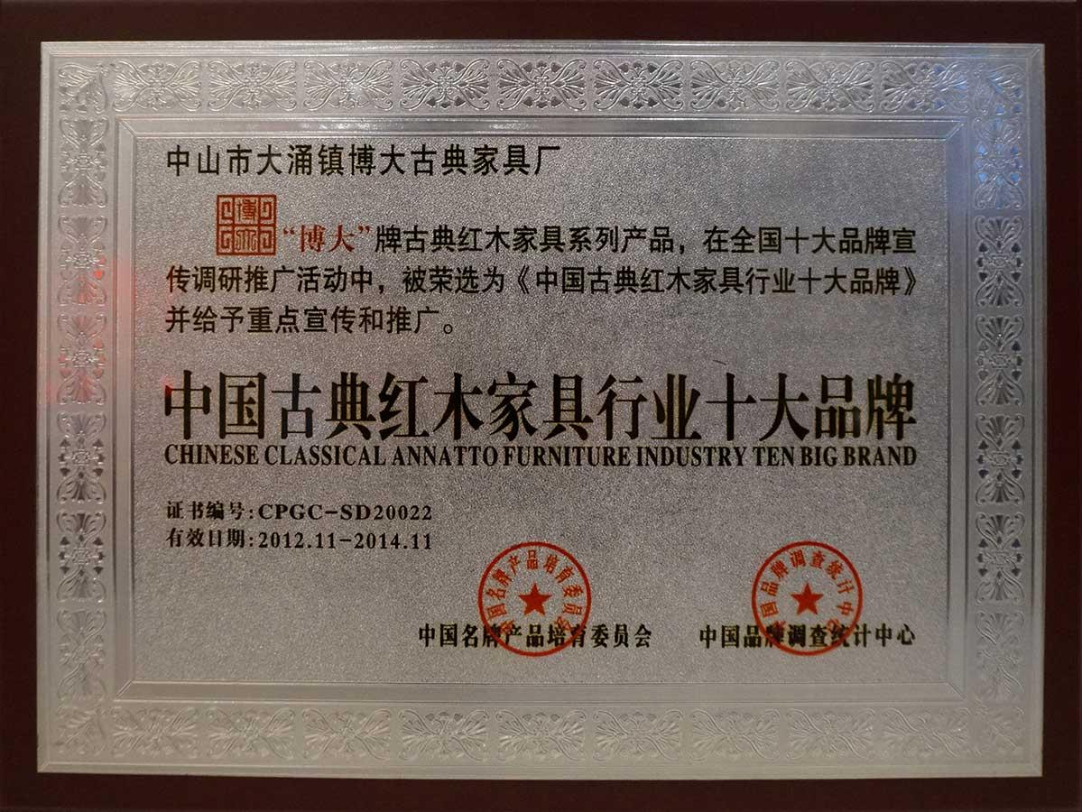中国古典红木家具行业十大品牌