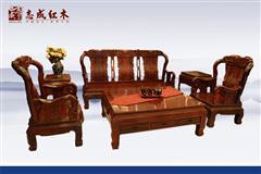小叶红檀 富贵象头沙发6件套