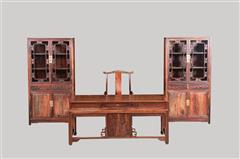 大红酸枝   仙桃书柜+1.8米办公台4件套
