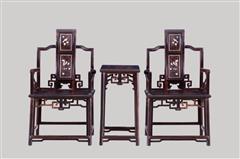 小叶紫檀  卷脑椅3件套