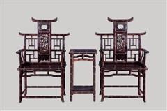 小叶紫檀   竹节椅3件套