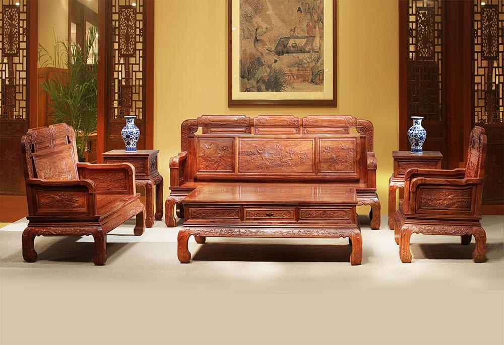刺猬紫檀  国色天香123沙发6件套