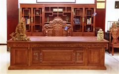 缅花  3米大班台 配手工雕龙椅+3.28米三组合书柜