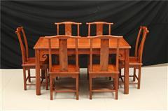 非花/缅花/紫檀木 明式餐桌7件套