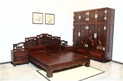 鸿庭轩红木:红酸枝  花鸟顶箱柜2件套