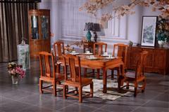 非洲花梨  荷塘月色餐桌7件套