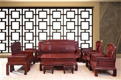 东非酸枝  花开富贵沙发12件套