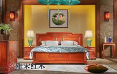 雅宋红木 红木床 中式床 缅甸花梨大床 卧室家具 今来大床