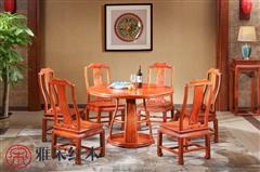 雅宋红木 红木餐台 缅甸花梨餐台 红木餐桌 缅花餐桌 餐厅家具 明月圆形餐台
