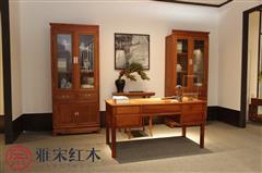 雅宋红木 红木书柜 缅甸花梨书柜 红木办公台 缅甸花梨办公台 红木书房 如意书柜+五抽办公台