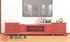 雅宋红木 红木电视柜 缅甸花梨电视柜 客堂系列 象头三合一电视柜