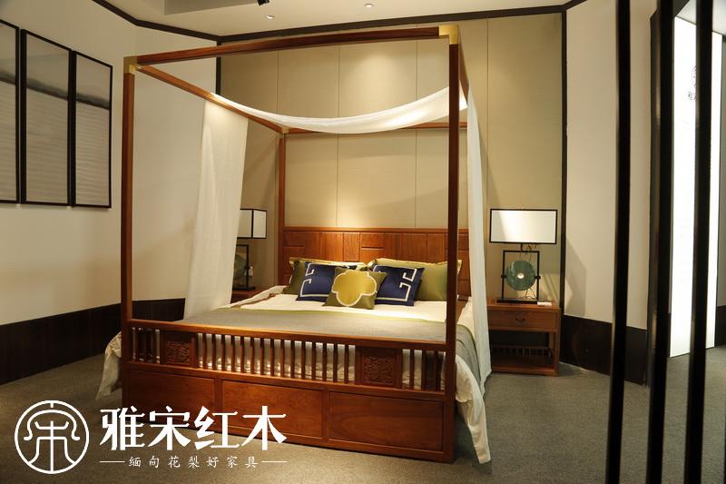 雅宋红木 红木床 缅甸花梨床 中式架子床 红木架子床 新中式架子床