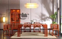 国寿红木 红木餐台 缅甸花梨餐台 君尚长餐台-君尚酒柜-国寿椅