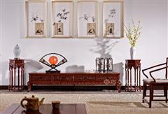 双狮迎福电视柜配六角花架