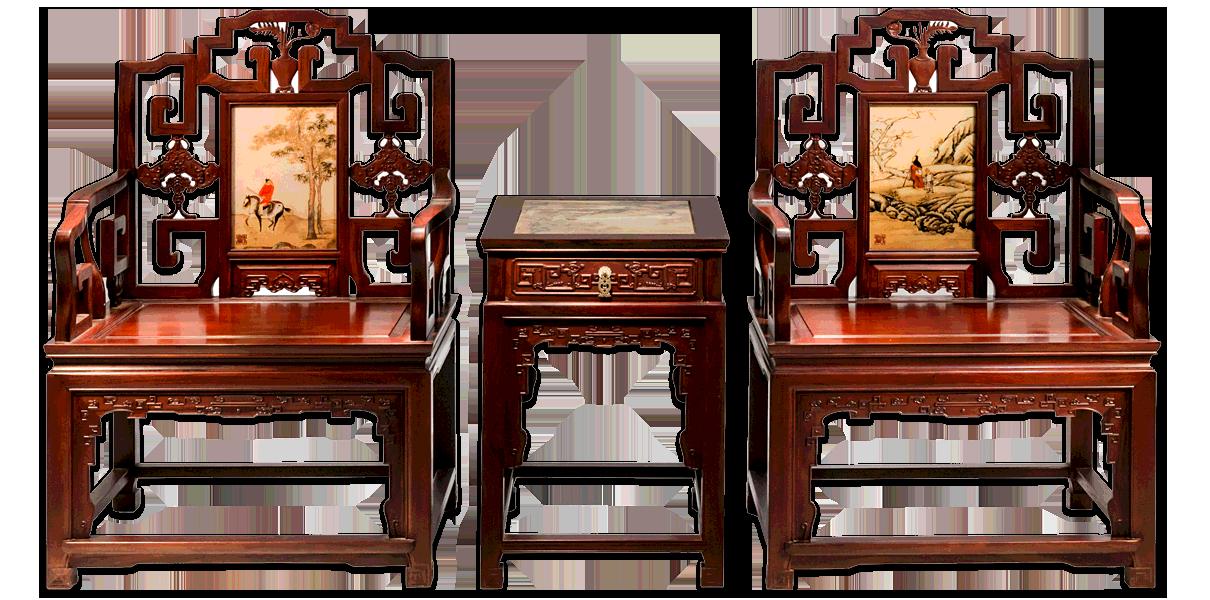 景泰蓝太师椅连几