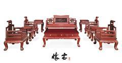 红酸枝花鸟纹沙发组合