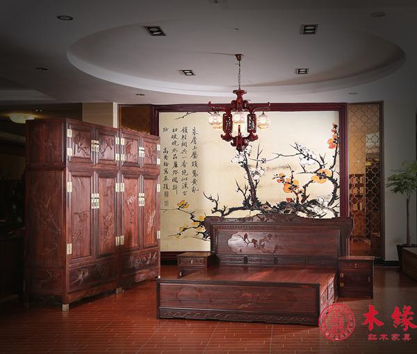 大红酸枝松鹤顶箱柜+花鸟大床