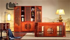 国寿红木 世外桃源 新明式家具 缅甸花梨家具 红木书桌 红木书柜 轩逸书台书柜 君尚组合书柜