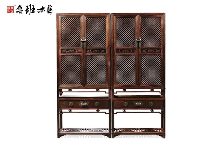 鲁班木艺 红木柜子 大红酸枝红木柜 带座木轴棂格柜