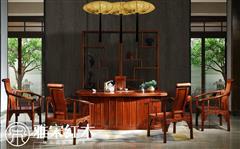 雅宋红木 缅甸花梨茶台 红木茶台 茶桌 中式茶台 梅花茶台