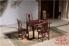 龙珍阁红木 阔叶黄檀家具 东阳红木餐桌 餐厅优雅红木餐桌