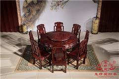 龙珍阁红木 阔叶黄檀家具 东阳红木餐桌 餐厅大气红木餐桌