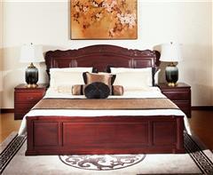 中信千赢国际入口 红酸枝千赢国际入口家具 红酸枝大床 中式床 卧室系列 红酸枝喜盈门大床