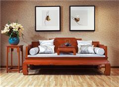 中信红木 缅甸花梨家具 红木罗汉床 中式罗汉床 客厅系列 缅花阅心罗汉床