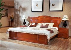 中信红木 缅甸花梨大床 红木床 卧室家具 缅花喜盈门大床