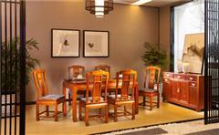 中信千赢国际入口 缅甸花梨餐桌 千赢国际入口餐桌 大果紫檀餐厅系列 和家欢餐台