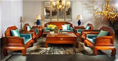 中信紅木 紅木沙發 緬甸花梨沙發 中式家具 中式沙發 新古典紅木家具 荷塘月色沙發10件套