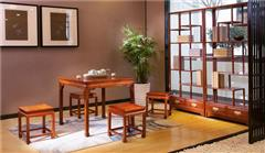 中信紅木 緬甸花梨方桌 紅木方桌 新古典紅木方桌 紅木餐桌 寧靜小方桌5件套