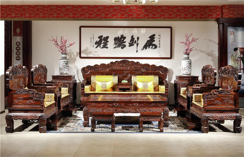御乾堂 中式古典红木家具 大红酸枝老红木交趾黄檀榫卯制作 大款檀雕松鹤沙发 客厅大堂13件套11件套沙发