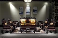 御乾堂红木家具大红酸枝、老红木(学名:交趾黄檀)榫卯制作客厅多子多福如意沙发中式古典13件套、11件套沙发