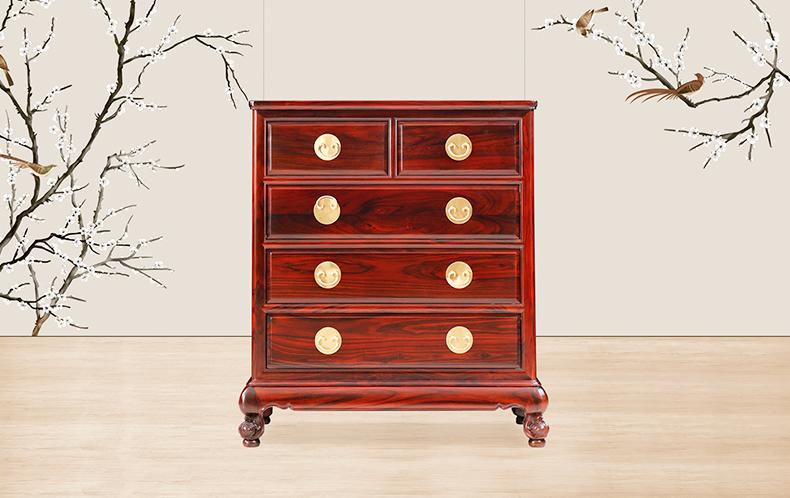 古森红木 阔叶黄檀 明式家具 明式五斗柜 新古典红木家具 客堂系列 中式五斗柜