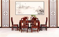 古森红木 红木餐桌 阔叶黄檀 中式餐台 新古典红木家具 国色天香 餐厅系列 餐桌 长桌