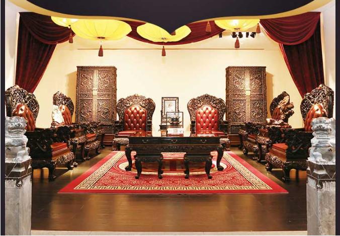 泰和园 新古典千赢国际入口家具  清式沙发  雕龙沙发 11件套