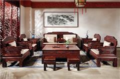 御乾堂 中式古典紅木家具 大紅酸枝老紅木 交趾黃檀客廳 榫卯制作 漢宮沙發中式古典13件套、11件套沙發