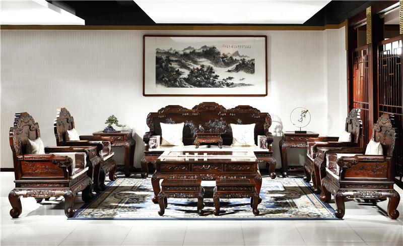御乾堂 中式古典红木家具 大红酸枝 老红木 交趾黄檀 榫卯制作 客厅吉祥寓意花开富贵沙发13件11件套