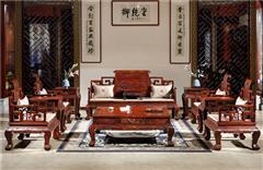 御乾堂 中式古典红木家具 大红酸枝 老红木 交趾黄檀 榫卯制作 客厅大堂卷书沙发11件套