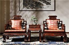 御乾堂 中式古典红木家具 大红酸枝 老红木 交趾黄檀 榫卯制作 客厅书房大堂 卷书椅三件套