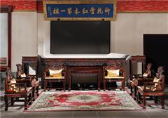 御乾堂 中式古典红木家具 大红酸枝 老红木 交趾黄檀 榫卯制作 大堂客厅前厅 灵芝中堂十二件套