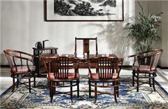 御乾堂 中式古典红木家具 大红酸枝 老红木 交趾黄檀 榫卯制作 茶室会议室客厅 明式茶台7件套