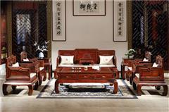 御乾堂 中式古典红木家具 大红酸枝 老红木 交趾黄檀 榫卯制作 客厅简约 明式弯脚沙发11件套