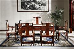 御乾堂 中式古典红木家具 大红酸枝 老红木 交趾黄檀 榫卯制作 茶室会议室客厅 明式青莲茶桌6件套