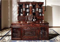 御乾堂 中式古典红木家具 大红酸枝 老红木 交趾黄檀 榫卯制作 大气清式书房书桌书柜组合