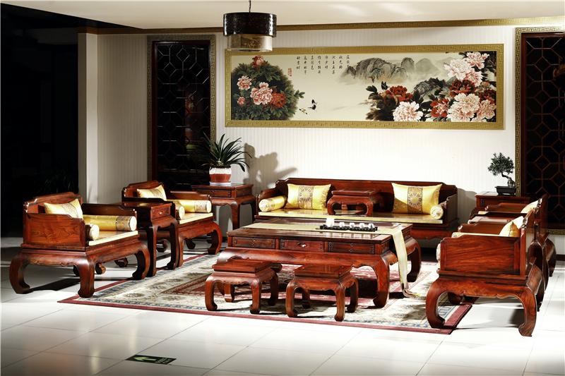 御乾堂 中式古典红木家具 大红酸枝 老红木 交趾黄檀 榫卯制作 客厅简约 明式素面三围独板沙发13件套11件套
