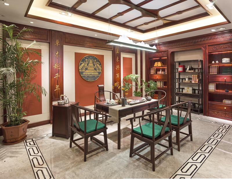 卓木王红木 红酸枝茶桌 雅致茶室空间 红木茶桌 新中式茶室 红木家具定制