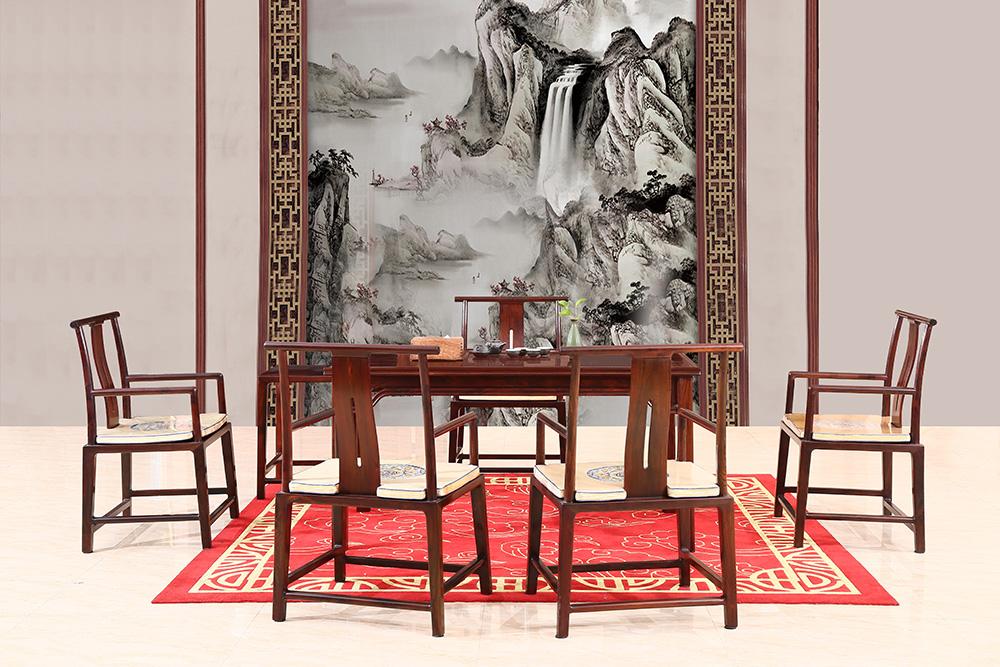 富宝轩红木 交趾黄檀明式茶台 大红酸枝高端家具 《罗杰斯茶台D74H》7件套
