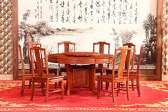 富宝轩红木 缅甸花梨餐桌 大果紫檀新古典 《1.38米明式圆台A43》9件套
